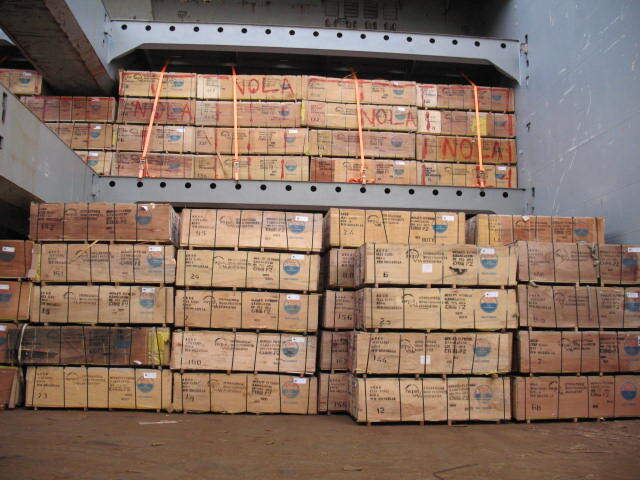 Argo plywood loaded on a vessel about to leave Indonesia